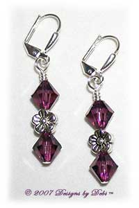 Designs by Debi Handmade Jewelry Amethyst Purple Swarovski Crystal and Silver Flowers Sterling Silver Plated Leverback Earrings