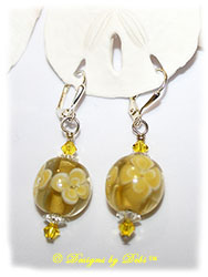 Designs by Debi Handmade Jewelry Yellow Aloha Glass and Swarovski Crystal Clear Margaritas and Citrine Bicones Sterling Silver Plated Leverback Earrings