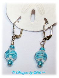 Designs by Debi Handmade Jewelry Aqua Dreams Aqua Swirled Handmade Lampwork, Swarovski Crystal Clear Margaritas and Aqua Seed Beads Sterling Silver Leverback Earrings ~ OOAK