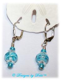 Designs by Debi Handmade Jewelry Aqua Dreams Aqua Swirled Handmade Lampwork, Swarovski Crystal Clear Margaritas and Aqua Seed Beads Sterling Silver Leverback Earrings ~ OOAK