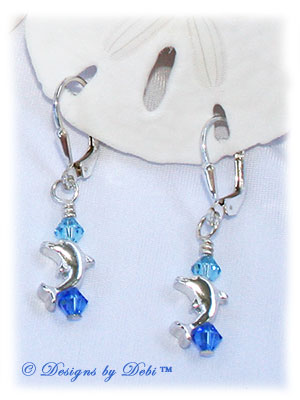 Designs by Debi Handmade Jewelry Sterling Silver Dolphins and Swarovski Sapphire Blue and Aquamarine Bicones Leverback Earrings