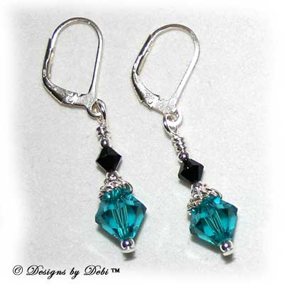 Designs by Debi Handmade Jewelry Jet Black and Blue Zircon Swarovski Bicone Crystals and Sterling Silver Leverback Earrings