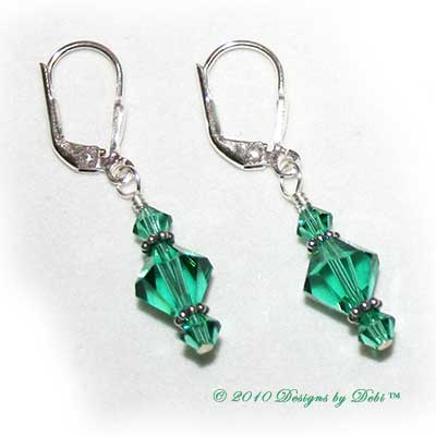 Designs by Debi Handmade Jewelry Light Emerald Swarovski Bicone Crystals and Sterling Silver Leverback Earrings