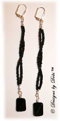 Designs by Debi Handmade Jewelry Long Black Glass and Seed Bead Earrings