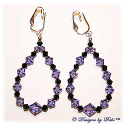 Designs by Debi Handmade Jewelry Tanzanite and Jet Swarovski Crystal Teardrop Shaped Clip-on Earrings