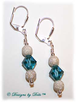 Designs by Debi Handmade Jewelry Indicolite Teal and Sterling Silver Stardust snowballs Earrings