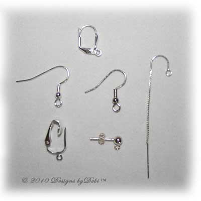 Designs by Debi Handmade Jewelry Alternate Selections of Earring Findings leverback, fish hook, threads, post, clip-on