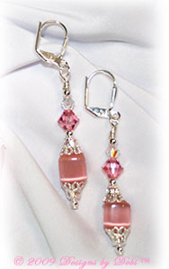 Pink cat's eye cubes, silver and crystal handmade lever back earrings.
