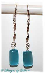 Designs by Debi Handmade Jewelry Silver Twist and Aqua Cat's Eye Long dangly Earrings