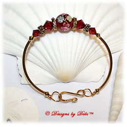 Designs by Debi Handmade Jewelry Red, Blue and Yellow Aloha Floral and Swarovski Crystal Siam Red Bicones Gold Plated Curved Tube Fitted Bangle Bracelet with Hook Clasp