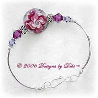 "Designs by Debi Handmade Jewelry ""Fall Florals"" Pink and Purple Artisan Handmade Lampwork Focal Bead and Swarovski Crystal Fuchsia and Tanzanite Bicones Silver Fitted Bangle Bracelet with Hook Clasp ~ OOAK"