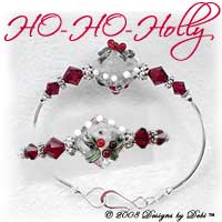 "Designs by Debi Handmade Jewelry ""HO-HO-Holly"" Red, Crystal and White Artisan Handmade Lampwork Focal Bead and Swarovski Crystal Siam Bicones Silver Fitted Bangle Bracelet with Hook Clasp ~ OOAK"