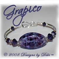 "Designs by Debi Handmade Jewelry ""Grapico"" Purple Artisan Handmade Lampwork Focal Bead and Swarovski Crystal Purple Velvet Bicones Silver Fitted Bangle Bracelet with Hook Clasp ~ OOAK"