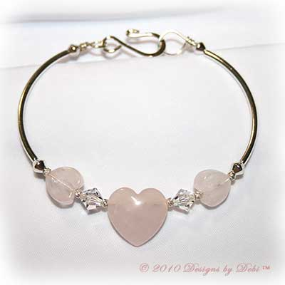 Designs by Debi Handmade Jewelry Rose Quartz Hearts and Swarovski Crystal Bicones Silver Fitted Bangle Bracelet with Hook Clasp