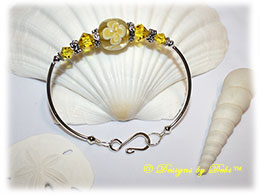 Designs by Debi Handmade Jewelry Yellow Aloha Floral and Swarovski Crystal Citrine Bicones Sterling Silver Plated Curved Tube Fitted Bangle Bracelet with Hook Clasp