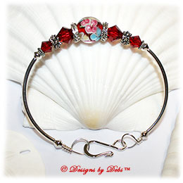 Designs by Debi Handmade Jewelry Red, Blue and Yellow Aloha Floral and Swarovski Crystal Siam Red Bicones Sterling Silver Plated Curved Tube Fitted Bangle Bracelet with Hook Clasp