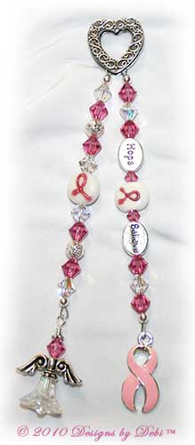 Guardian Angel Prayer Chain™ with ornate textured Bali fine silver heart, Swarovski rose pink and crystal ab (aurora borealis) bicone crystals, round silver filigree beads, glass pink breast cancer awareness ribbon beads, silver oval Hope bead, silver oval Believe bead, pink awareness ribbon charm and beaded angel.