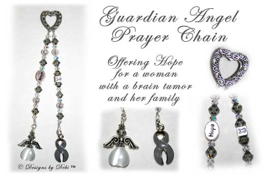 Guardian Angel Prayer Chain™ with ornate textured Bali fine silver heart, Swarovski black diamond gray and crystal ab (aurora borealis) bicone crystals, round silver filigree beads, sterling awareness ribbon bead, silver oval Hope bead, gray awareness ribbon charm and beaded angel.