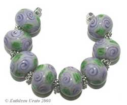Violet Rose Chintz lampwork beads handmade by Kathie Urato of Designs by K Urato