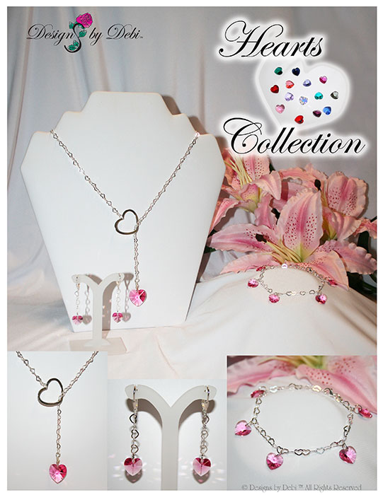 Designs by Debi Hearts Collection sterling silver and Swarovski Crystal Hearts handmade jewelry © Designs by Debi ALL RIGHTS RESERVED