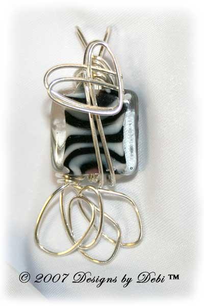 Zebra Square Handmade Wire-Wrapped Pendant in Silver