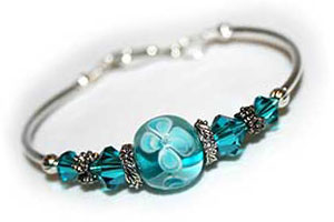 handmade jewelry aqua fitted bangle in silver