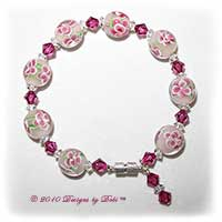 Handmade Jewelry Raspberry Aloha Glass Bead and Swarovski Crystal Fuchsia Bicones Bracelet with a Silver Magnetic Clasp