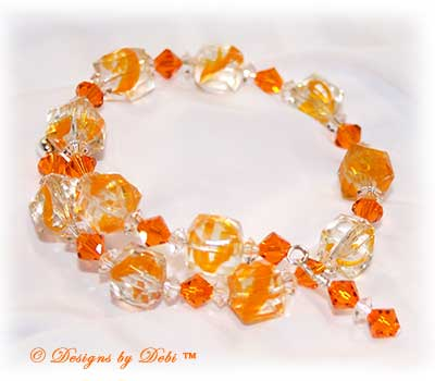 Designs by Debi Handmade JewelryOrange and Crystal Glass Cubes and Swarovski Crystal Sun and Crystal Bicones Wrap Bracelet ~ No Clasp!