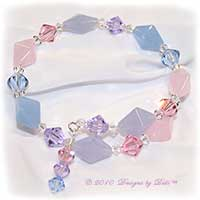 Designs by Debi Handmade Jewelry Pink, Blue and Violet Glass and Swarovski Crystal Bicones Memory Wire Wrap Bracelet
