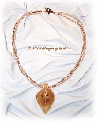 Designs by Debi Handmade Jewelry Copper, Cream and Goldstaone Leaf Multi-strand Necklace with Copper Leaf Toggle Clasp