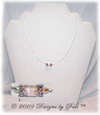 Designs by Debi Handmade Jewelry Crystal AB Cube and Bicone Illusion Necklace
