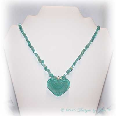 Designs by Debi Handmade Jewelry Mint Green Glass Heart and Glass Chips Necklace with Silver Hook Clasp