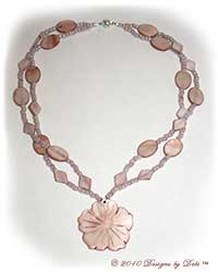 Designs by Debi Handmade Jewelry Beige Mother of Pearl Double Strand Necklace with Flower