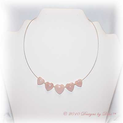 Designs by Debi Handmade Jewelry Rose Quartz Graduated Hearts Silver Necklace with Lobster Clasp