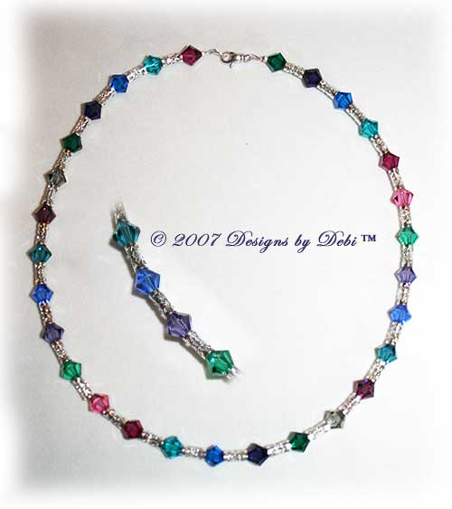 Designs by Debi Handmade Jewelry Swarovski Crystal Jewel Tone Bicones and Silver Filigree Tubes Necklace with Swivel Lobster Clasp