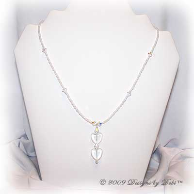 Designs by Debi Handmade Jewelry White and Swarovski Crystal AB Double Hearts Necklace with Silver Magnetic Clasp