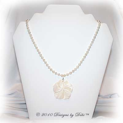 Designs by Debi Handmade Jewelry Ivory Freshwater Pearls & Natural Shell Flower Necklace with Sterling Silver S-hook clasp