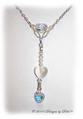 Designs by Debi Handmade Jewelry Swarovski Crystal AB, White Cat's Eye Hearts and Sterling Silver Textured Chain Necklace with a Sterling Silver Hook Classp and Front & Back Drops
