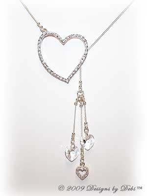 Designs by Debi Handmade Jewelry Sterling Silver, CZ and Swarovski Crystal Hearts Lariat Necklace