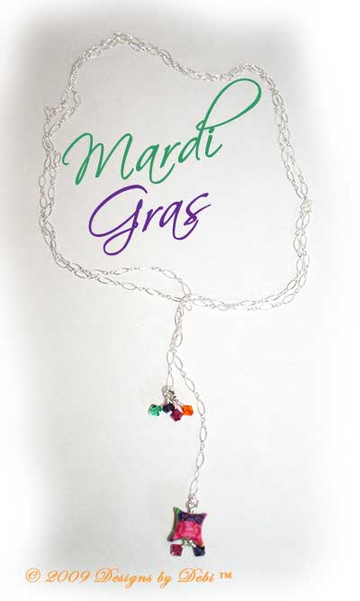 "Designs by Debi Handmade Jewelry ""Mardi Gras"" Sterling Silver, Artisan Handmade PC Pillows and Swarovski Crystal Purple Velvet, Fuchsia, Light Emerald and Sun Bicones Lariat Necklace ~ OOAK"