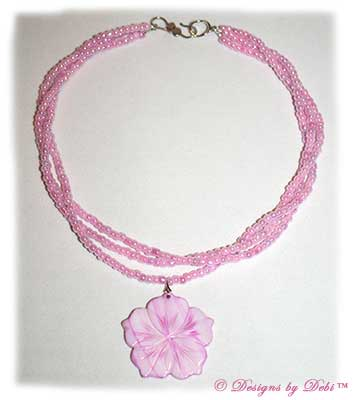 Designs by Debi Handmade Jewelry Pink Multi-Strand Necklace with Shell Hibiscus Flower Pendant and Sterling Silver Double Hearts Hook Clasp