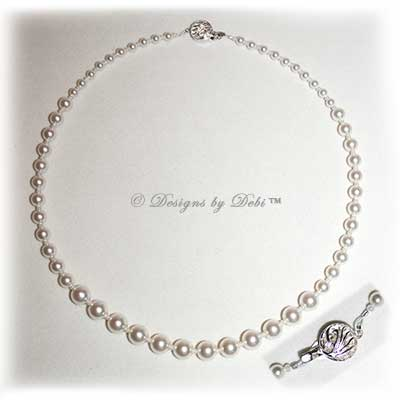 Designs by Debi Handmade Jewelry  Graduated White Pearls Necklace with Sterling Silver Fancy Filigree Tab Clasp