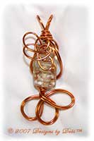 Goldstone, White and Crystal Tube Handmade Wire-Wrapped Pendant in Copper