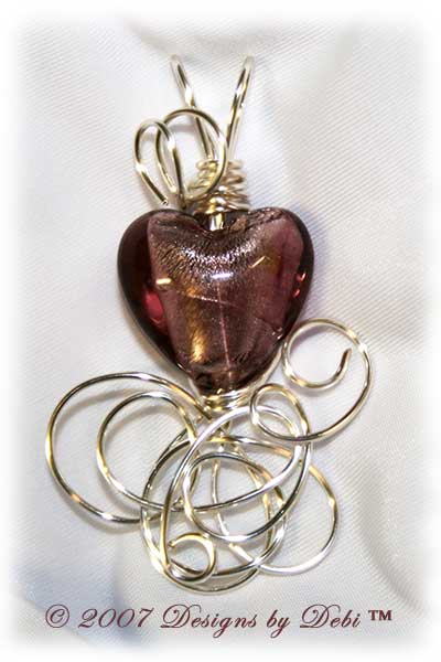 Amethyst Silver-Lined Foil Heart Handmade Wire-Wrapped Pendant in Silver