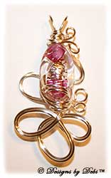 Magenta and Silver Foil Lined Crystal Textured Glass Bead Handmade Wire-Wrapped Pendant in Silver