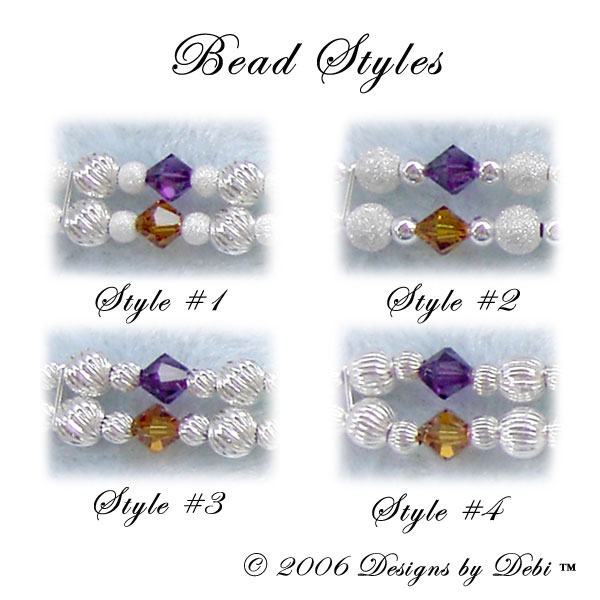 sterling silver bead styles for the Rainbow Bridge Pet Memorial Bracelet