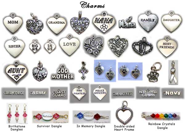Designs by Debi Personalized Keepsake Bracelets Charm Choices