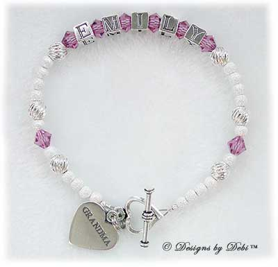 Designs byDebi Handmade Jewelry Karen Style Bracelet in the Twist and Stardust bead combination with Rose (October) crystals, a heart toggle clasp and Grandma heart charm.