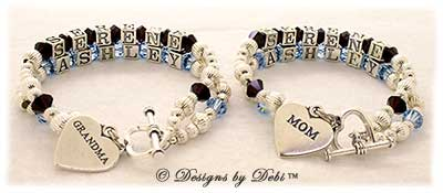 Designs by Debi Handmade Jewelry 2 strand Keepsake Bracelets in the Karen Style Corrugated bead combination with Garnet (January) and Aquamarine (March) crystals and heart toggle clasps. One has a Mom heart charm and the other a Grandma heart charm.Mother's Bracelet Grandmother's or Nana's Bracelet