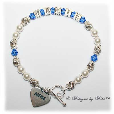 Designs by Debi Handmade Jewelry Samantha Style Bracelet in the Twist and Pearls bead combination with Sapphire (September) crystals, a bright twisted rope toggle clasp and Mom heart charm.